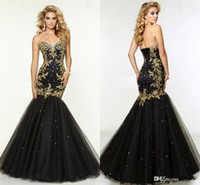 printed organza ribbon - Classy Black And Gold Mermaid Sweetheart Evening Dresses Beaded Appliques Prom Dresses Floor Length Organza Formal Gowns Custom Made