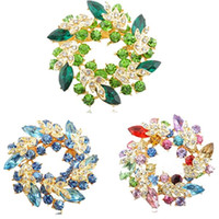 Wholesale New Brand Ladies Rhinestone Crystal Alloy Flower Bouquet Brooch Pin