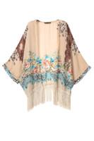 ladies poncho - 2015 Spring NEW Women s Print Floral Kimono Cardigan Fashion Lady Chiffon Tassel Poncho Jackets Outwear