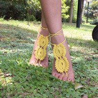 Wholesale DHL Women Stylish Barefoot Sandals Crochet Cotton Foot Jewelry Anklet Bracelet Ankle Chain Pairs