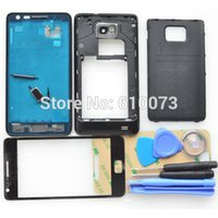 i9100 - Original i9100 Complete Full Housing for Samsung Galaxy S2 Back Cover Middle Frame Bezel Front Glass Lens M Adhesive Tools Black White