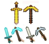 Blue christmas toys - Minecraft Foam Diamond Sword and Pickaxe Combo Set weapons EVA axe Foam diamond pick Gold Grey Blue Christmas Gift pecs