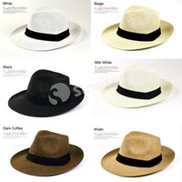 straw trilby hat - Panama Straw Hats Fedora Soft Vogue Colors Summer Sun Beach Trilby Gangster Linen Jazz Hat Unisex Men Women Stingy Brim Caps Free e Packet