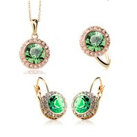 Others african rivers - Moon River Necklace Earrings Rings Set Korean High Grade Semi Circular Crystal Jewelry Sets Zinc Alloy Fashion Jewelry