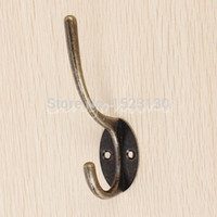 antique robe hooks - 3pcs Zinc Alloy Antique Hat Coat Towel Robe Door Wall Bath Utility Closet Double Hook Hanger
