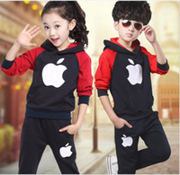 apple brand clothing - Fashion Clothing Apple Set Girls Hooded Hat Shirt Pants Cheap Outfits Kids Clothes Grid Outwear Skirt Suit K6720