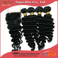 extension natural hair curl - Free Part Lace Top Closure With Human Hair Wefts A Brazilian Deep Curl Wave Virgin Hair Extensions Natural Color