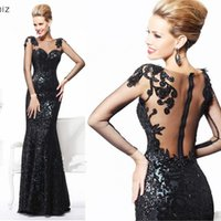 Wholesale 2014 Sexy Black Mermaid Evening Dresses Long Sleeves Sheer Neck Sequins Floor Length See Through Sequins Formal Gowns Tarik Ediz