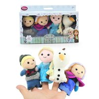 Wholesale 4pcs set New in box Frozen Finger Puppet Set of Four Stuffed Toys Finger Dolls Baby Toys Olaf Kristoff Anna Elsa Plush doll