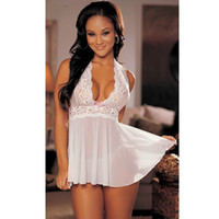 Wholesale Sexy Women Lace Lingerie Black Dress Underwear Nightwear Babydoll Sleepwear