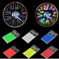 Wholesale 12 Reflective Circle MTB Bicycle Bike Spokes Steel Wire Anchoring Stripe Warning Strips Reflective Cycling Spokes