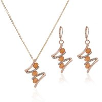 amber products - 2015 New Korean Style Opal Rose Gold Earrings Necklace Jewelry Set Rhinestone Earrings Manufacturers Selling Products JS0084