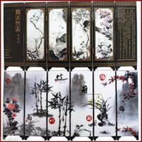 Wholesale Chinese Handmade Vintage Flower Plant Wooden Lacquer Six Pieces Folding Screen
