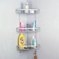 bathroom corner basket - Space Aluminum Triangular Shower Caddy Shelf Bathroom Corner Rack Storage Stock Holder Basket Hanger Three Sizes