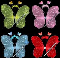 feather butterflies - Girl fairy butterfly wings feather net yarn headband wands set christmas halloween princess children kids party COS performance props gift