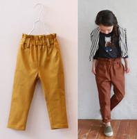 high waist pants - 2015 Spring Kids Girls High Waist Casual pants Baby girl red yellow fashion Slim pant children s trousers