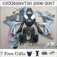 Para Suzuki GSXR750 GSXR600 GSXR 750 GSXR 600 k6 2006 2007 06 07 ABS Carreras Carenado Kit de Carenado Conjunto Gris claro Negro Parabrisas + 7 Regalos