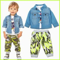 Wholesale Fashion Baby Boys Suits T shirt Coat Pants Kids Denim Coat Camouflage Pants Suits Autumn Sleeved Set Children Holiday Gift FS GD6