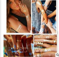 arm ring tattoos - Hot Sale Flash Tattoos Bronzing Tattoos Metal Color Tattoos Bracelet Ring Tattoos Body Art For Women More Style F5B5