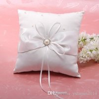 Wholesale High quality D rose ring pillow Wedding supplies rhinestone white rose Satin Ring Pillow for Wedding Ceremony Party Stuff Accessories