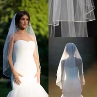 double ribbon - 2015 Short Fingertip veil with blusher double tier fingertip veil with quot corded satin trim satin cord trim Bridal veils ivory veils