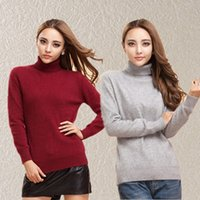 Pullover winter sweater for women - Mink Cashmere Sweater For Women Girls Turtleneck Pullover Autumn Winter Knitting Tops Fashion Sweater Cashmere Pullover Outwear D007