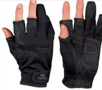 Wholesale Sports gloves PU waterproof fingers out palm no slip fishing gloves L XL black and white