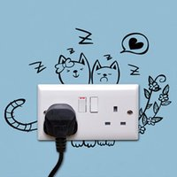 abstract cat art - Cat personalized cartoon switch stickers wall stickers diy child real wall covering