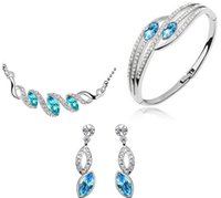 Wholesale 2014 Summer Hot Sale Platinum Plated Ball Necklace Earrings Ring Jewelry Set High Quality Wedding Jewelry Set for Women