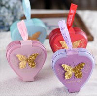 heart shaped tin box - 5Color Heart Candy Favor Tin Favor Holders For Wedding Supplies Wedding Faover Boxes Small Gift Box Heart Shaped Chocolate Bag