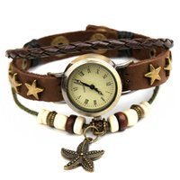 bead weaving patterns - New Starfish Pendant Women Antique Bracelet Watch Leather Bead Rope Weave Band Star Pattern Rivet Vine Quartz Watches