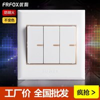 Wholesale Excellent Fox switch socket genuine F5 ivory wall switch socket three billing control Fluorescent Switch