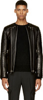 Wholesale BALMAIN jeans New Italy Style Men Fashion Runway PU Leather Biker Jacket Coat Size M XL