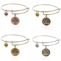 antique gold finish - New Alex Ani Tree of Life Charm Bangles With rose gold antique finished Stainless steel expandable wire bracelets AA83