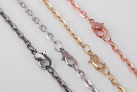 Wholesale 10PCS Colors For Choise Long Link Rolo Chains Necklace With Lobster Clasps Men Women Chains For Locket Pendant Jewelry Making