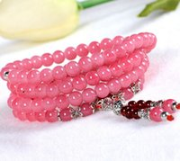 Wholesale Latest Design Four Layer Colors Imitation Jade Glass Bead Wrapped Bracelets for Women a
