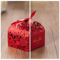 beautiful gift cards - 2016 Top Sale Beautiful Hollow Candy Boxes Red Favor Holders Gift Box Wedding Events Suppliers DIY Chocolate Package Laser Cut Sweety Box