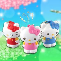 novelty gifts and toys - New Novelty Toys Cartoon Lovely Hello Kitty LED Keychains Lighting And Sounds Children s Toys Creative Birthday Gifts