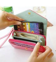 Wholesale low price Coin Purses More beauty stylish Crown Smart Pouch Multi propose envelope Purse Wallet For Galaxy S6 S7 iphone