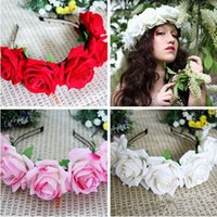 Wholesale New Pretty Handmade Floral Crown Rose Flower Headband Hair Garland Wedding Headpiece