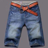 asia jeans - Hot Sale Men Short Jeans Denim Dark Blue Boy s Short Cotton Knees Shorts Fashion Summer Men Shorts Asia Tag Size