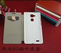 Caballo loco ranuras para tarjetas monedero del tirón titular de cuero bolsa retro piel de la cubierta para el caso del tirón Huawei D3