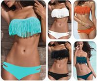 bandeau - by dhl or fedex Sexy Tassel Swimwear Women Padded Boho Fringe Bandeau Bikini Set New Swimsuit Lady Bathing suit