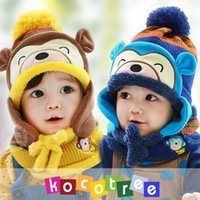 thermal protector - Bonnet baby winter hats child hat plus velvet baby hat With Scarves winter thermal protector ear cap