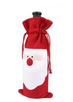 Wholesale Christmas Santa Claus Red Wine Bottle Cover Bags Christmas Dinner Table Decoration Home Party Decors Christmas Decoration