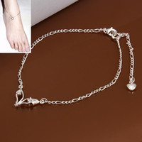 Wholesale 925 silver plated sexy tornozeleira femininas leg bracelet New Design boot jewelry chains anklets for women