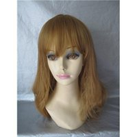 Wholesale Virgin Indian Human Hair Wig Loose Wave with Fringe Natural Looking Machine Made Hair Wig Light Brown Fashion Wig