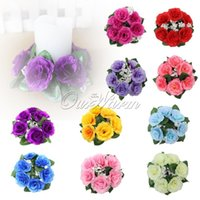 flower candle ring - Floral Candle Rings Wedding Centerpieces Silk Roses Flowers Unity Candle Party Home Vase Decoration