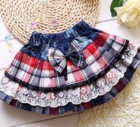 mini plaid skirt - Preppy Style Baby s Denim Plaid Bow Cake Skirt Patch Lace Fashion Girl s Bubble Skirts Childs Children s Hot Short Mini Tutu Skirts J3667