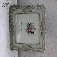flower picture frame - Vintage Engraving flower Edged Photo Frame Carved Resin Picture Frame Wedding Gifts Tabeltop Disply Wall Decal Home Décor